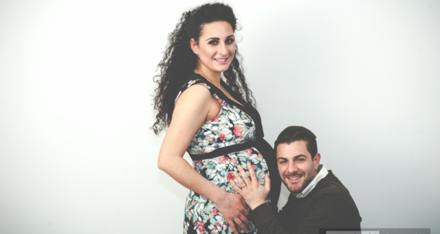 Giuseppe and Sera are proud happy parents at Anatoli Photograffi . . . almost
